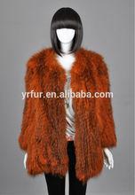 Nuovo stile yr-654 vera pelliccia di coniglio lavorato a maglia cappotto/cappotto donna/Cina oem