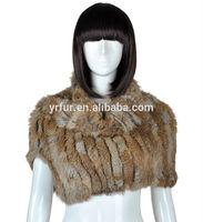 YR-821 Fine knitting neck wear real rabbit fur scarf with elastic