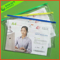 Wholesale clear PVC file bag, A4 PVC document bag with card holder, PVC file bags