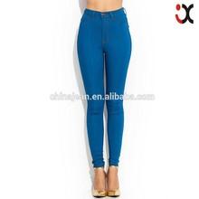 2015 High waist lady skinny color denim jeans fashion legging pants(JXW095)