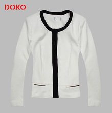 2014 new arrival white long sleeves stand collar women winter coat