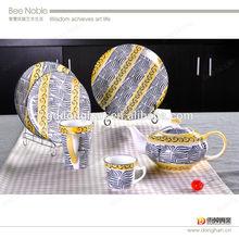China wholesale high grace yellow dinner set