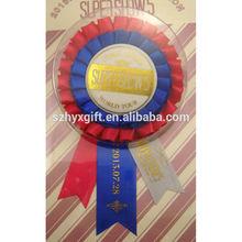 Wholesale Custom Handmade Factory Quality Party Award Ribbon Rosette Pinback Tin Button Ribbon Rosette In Bulk Blister Package