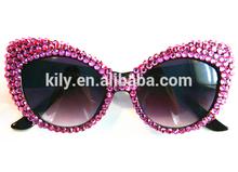 2014 hot Shining Pink Cat Eye Sunglasses