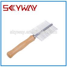 wooden handle metal body lice comb product grooming pet combs