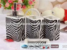 Fashion design printed ceramic bathroom accessory set