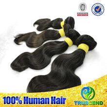 "OEM/ODM 6A virigin hair full stock12-34"" soft&full natural black unprocessed body wave brazilian malaysian hair virgin girl"
