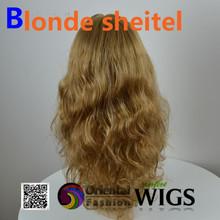 "2014 18"" small layer silk top 100% European virgin hair Body wave Kosher wigs blonde Jewish wig"