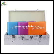 Prata handmade elegante casamento álbum de fotos pasta com 4 x 6 '' álbuns de couro