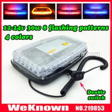 DC12V-24V 36 LED 36W Magnets Emergency Strobe Light bar Amber/Blue, 8 Flash way LED warning Light