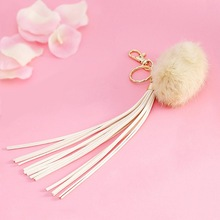 2014 Best Sale Wholesale Long Leather Tassel Key Chain With Hook