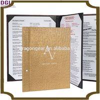Durable 4 panels menu cover menu holder restaurant menu catering material