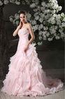 New Design Bride Dress Organza Full Skirt Sweetheart Ruffle Pink Wedding Dress From Suzhou Factory