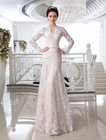 Vintage Bridal Gown Champagne And White Mermaid V-neck High Neck Keyhole Back long sleeves lace wedding dress