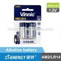 Pcs 2 libster nominal de embalaje volatege1.5v lr14 pilas y baterías alcalinas