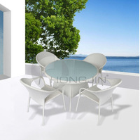 White Rattan Outdoor Furniture Dining Sets