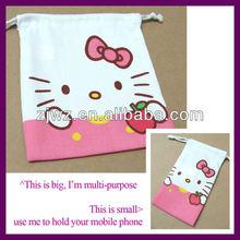 hello kitty design mobile phone cotton bag