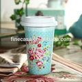 12 OZ elegante flor color de rosa patrón de estilo de doble pared de cerámica vaso