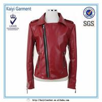 China supplier short windbreak motorcycle women red jacket leather