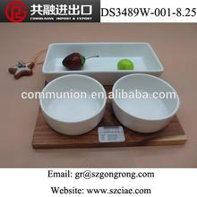 Wholesale Three Porcelain Ramekin Bowls on Wooden tray