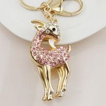 2014 New Style Fashion Top Grade Zinc Alloy Crystal Goat Keychain