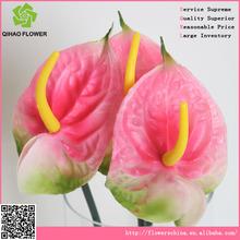 high quality plastic single red palm, cheap artificial flower arrangement wholesale