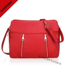 Fresh red school girls leather bag | zip pockets shoulder bag leather | handmade export designer bag