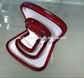 caja de joyería de concha de madera con cuero blanco en pintura al óleo rojo