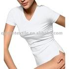 67.5% Bamboo, 27.5%Cotton, 5%Spandex 180gsm, Anti-bacterial, Anti-UV, Moisture Wicking Women wholesale blank t shirts