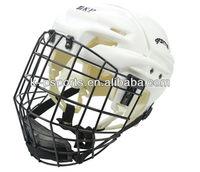 white ice hockey helmet with high metal mask