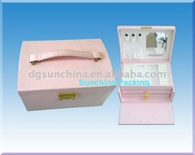 Fashion design of pink color make up box for cosmetic packing