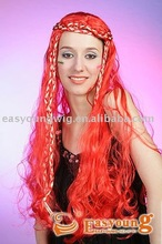 Synthetic Long red Carnival wig, cheap cosplay wigs,red party wigs