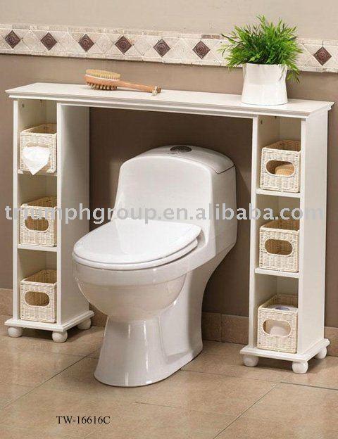 Hacer Estantes Para Baño:Madera estante estantería de baño wc con cestas de mimbre-Otro
