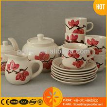 stoneware handpainted tea set, cofee set, tea & coffee set