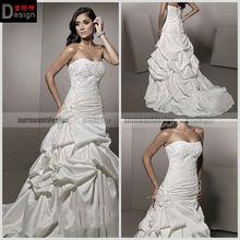 Surmount A Line Strapless Court Train Satin Beaded Lace Taffeta Cheap Wedding Dress (TY187)