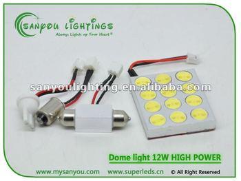E-mark auto light 12w high power led dome/roof light