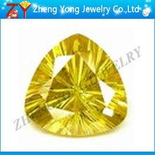 low price of yellow trillion cut cubic zirconia gems beads