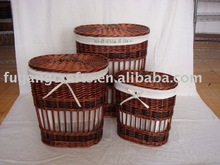 wicker laundry hamper with liner set of 3