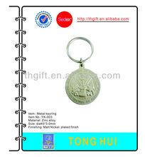 fashion metal coin Key chain w/matt silver plated