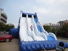 wave design cloud inflatable double lane slip slide