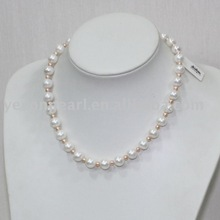 10.0-11.0mm white round freshwater pearl necklace with alloy fitting