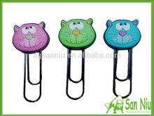 soft pvc paper clip/cute cat figure rubber paper clips/cute animal soft pvc paper clips