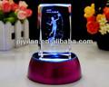 Laser elegante cubo cristalino del grabado, Cristal láser giratorio de fotos cubo mágico con led mágico de la foto cubo