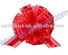 metallic edge satin center sheer organza ribbon pull bow,gift wrap decoration