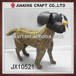 metal and rattan dog,handicraft decoration dog