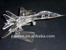 unique glass crystal airplane model 3d crystal fighter jets model