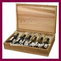 Customized 6 bottles wooden wine storage box