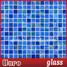 Gold line blend mosaic tile aventurine glass
