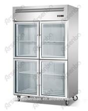 Commercial Four Glass Door Display Refrigerator/Beverage Showcase freezer