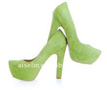 2013 big size green wedding shoe with high heel and platform